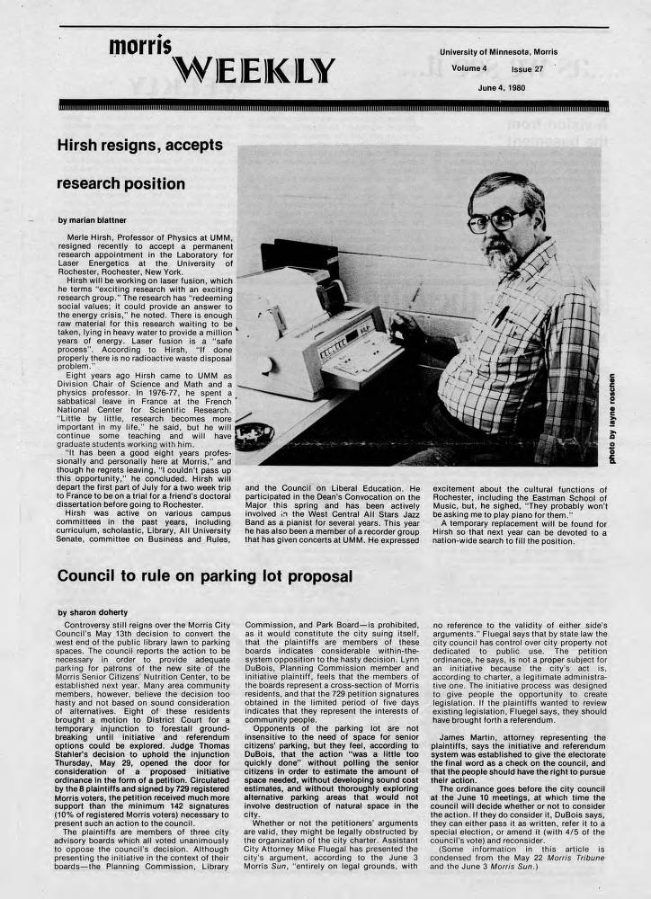 MWv04iss27p01 - UMM Campus Newspapers - UMM Digital Collections